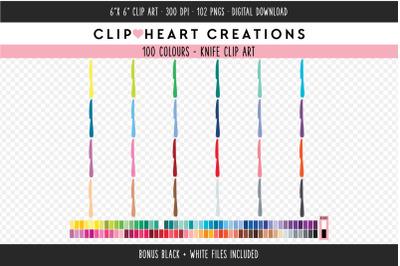 Kitchen Knife Clipart - 100 Colours
