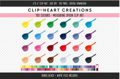 Measuring Spoon Clipart - 100 Colours