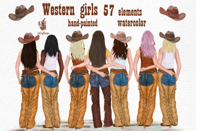 Western girls Cowgirls clipart Best Friends clipart Portait