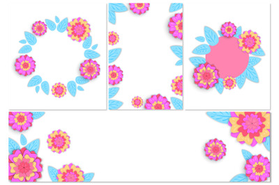 Posters or banner template with spring flowers