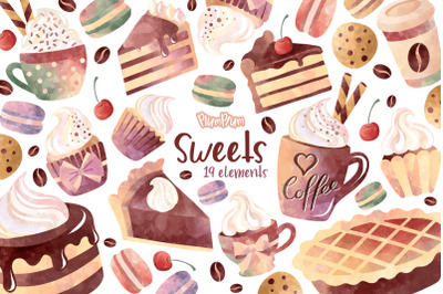 Sweets Watercolor Clipart