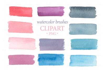 Watercolor brushes clipart