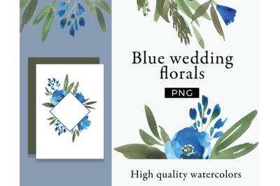 Blue wedding florals