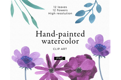 Hand painted flowers blue and purple