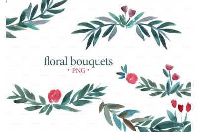 FLORAL BOUQUETS CLIPART. Banner floral clipart. Download Watercolor fl
