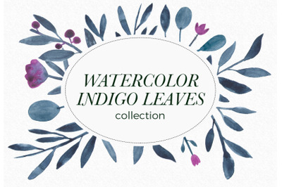 FLOWER CLIPART WATERCOLOR blue fern clipart watercolor leaf wedding fl