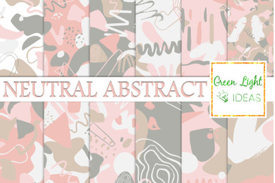 Neutral Abstract Digital Papers, Geometric Scrapbook Backgrounds