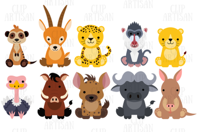 African Animals Clipart Set 2, Safari, Zoo