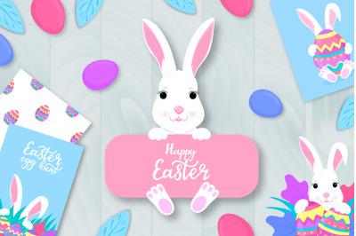 Happy Easter. White rabbit cartoon character.