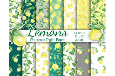 Set of watercolor digital paper with lemons. Seamless patterns.