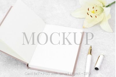 Mockup notes with lily and white pen and free bonus