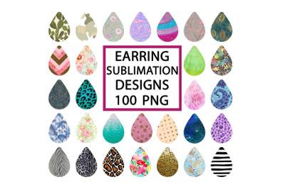 Drop Earring Sublimation Design Bundle, 100 PNG Files