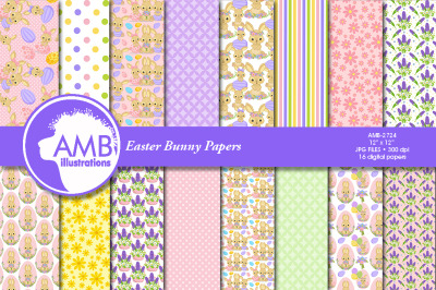 Easter bunny papers, cute bunny papers  AMB-2724