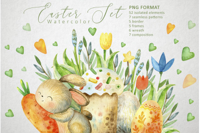 Happy Easter. Watercolor set.