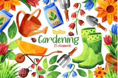Gardening Watercolor Cliparts