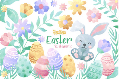 Easter Watercolor Cliparts