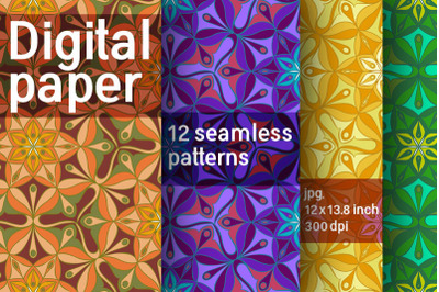 Set of 12 digital abstract seamless patterns. Digital paper