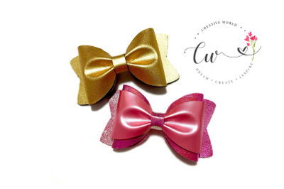 2 in 1 Trendy Pinch Bow Digital Template | Hair Bow Template