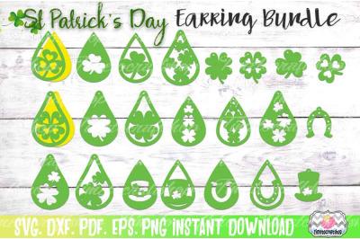 St Patrick's Day Earring Bundle, Shamrock Teardrop Earrings