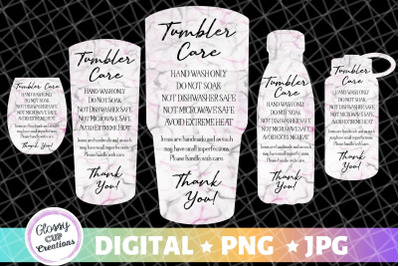 Tumbler Care Cards - Black and Pink Marble - 5 Pack!
