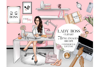 Boss babe girl boss fashion home office clipart