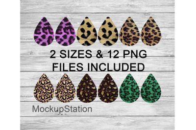 Cheetah Drop Earring Sublimation Design Bundle, Leopard Teardrop