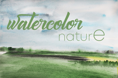 watercolor abstract landscape and nature summer and spring