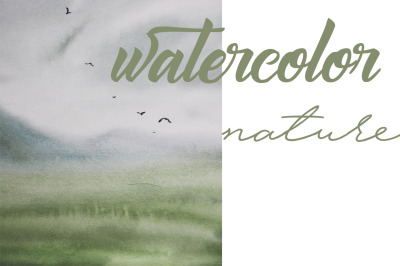 watercolor nature and landscape with birds