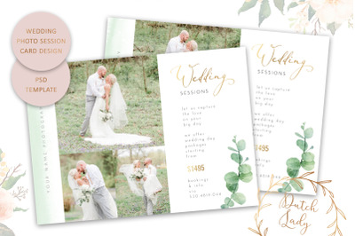 PSD Wedding Photo Session Card Template #8
