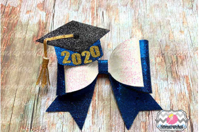 2020 Graduation Cap Hair Bow Template. Glitter hair bow, Felt Bow