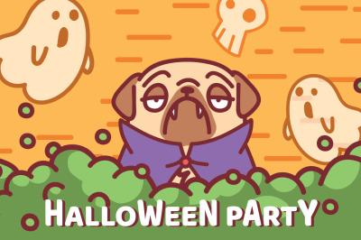 Pug Dog Halloween Party