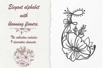 Elegant alphabet with blossom flower