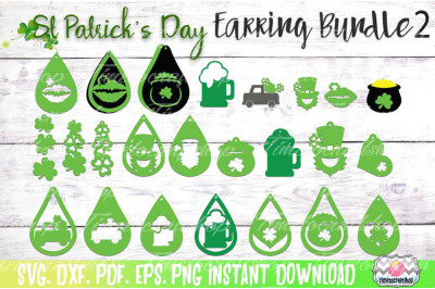 SVG, DXF, PDF, PNG, and EPS  St Patrick's Day Earring Bundle 2, Shamro