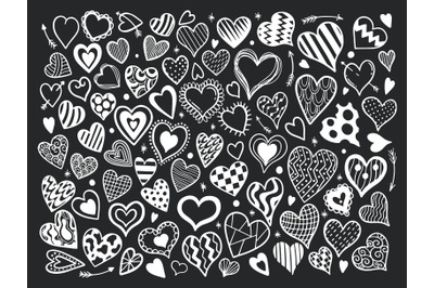 Heart set in black background