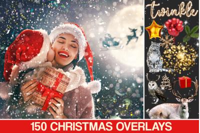 150 Christmas digital backdrop, Photoshop overlay, Christmas lights ov