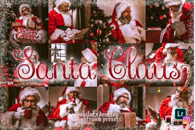 5 Santa Claus lightroom presets winter mobile presets desktop