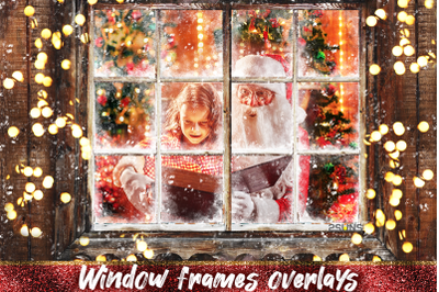 Christmas Overlays, Photoshop overlay, Window Frame, Frosted Glass