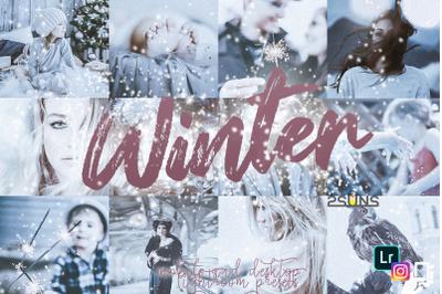 Winter Lightroom presets, Mobile instagram filter, christmas