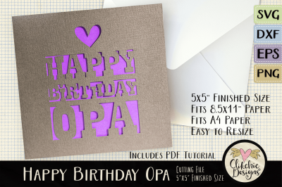 Happy Birthday Opa Card SVG Cutting File