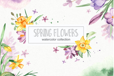 Watercolor spring flowers. Clipart, frames, wreaths, banner, patterns