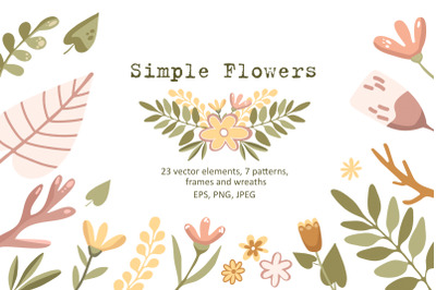 Simple Flowers - Vector Clip Art Set