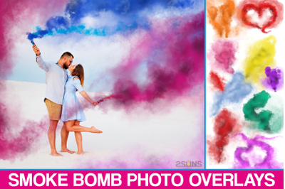 Smoke Bomb Overlays, Colorful Smoke fog, photo overlays
