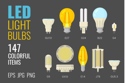 147 colorful LED light bulbs