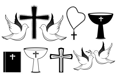 Set of Christian black white icons