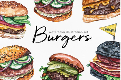 Watercolor food set illustrations. Burger. 6 burgers