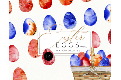 Watercolor Easter Clipart. Easter egg clip art. Instant Download. East