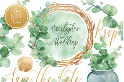 Watercolor Eucalyptus Wedding Card Clipart Set