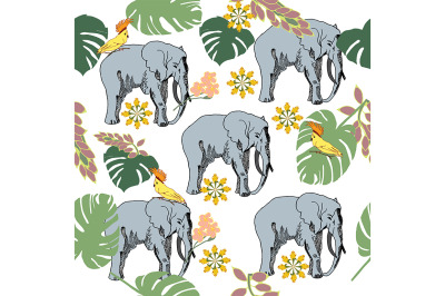 Vector seamless pattern with elephants in the jungle