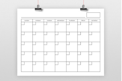 8.5 x 11 Inch Blank Calendar Page Template