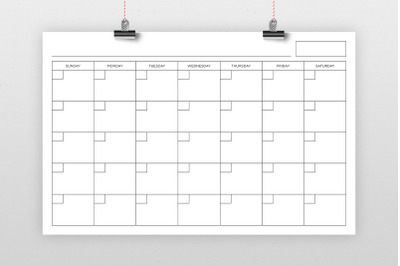 11x17 Inch Blank Calendar Page Template
